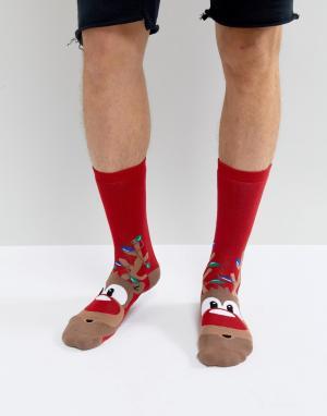 Urban Eccentric Новогодние носки с оленями. Цвет: красный
