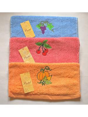 Комплект полотенец 3 предметов Кухня - 81,30х55 см La Pastel. Цвет: голубой, красный, персиковый