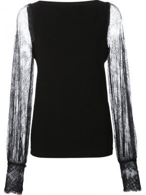 Блузка с полупрозрачными кружевными рукавами Plein Sud. Цвет: чёрный