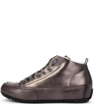 Кожаные зимние кеды на шнуровке Candice Cooper. Цвет: серый