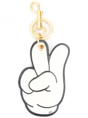 Брелок для ключей Victory Anya Hindmarch. Цвет: белый