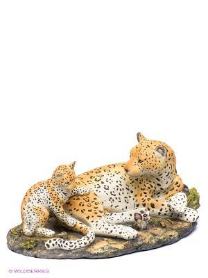 Статуэтка Леопард с детенышем Veronese. Цвет: оранжевый, бежевый, черный