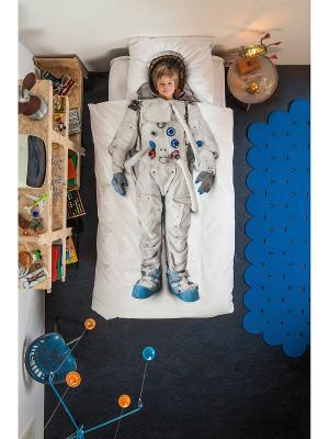 Комплект постельного белья Астронавт 150х200см SNURK. Цвет: белый, синий, серый