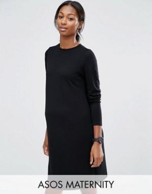 ASOS Maternity Цельнокройное платье для беременных из понте с рукавами 3/4 Mater. Цвет: черный