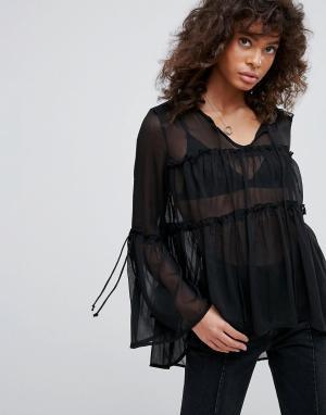 Neon Rose Шифоновая блузка с ярусными оборками. Цвет: черный