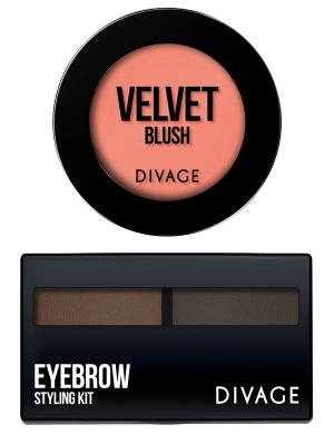 Набор №79 румяна компактные velvet тон 8703 + eyebrow styling 02 DIVAGE. Цвет: светло-коралловый, темно-коричневый, темно-серый