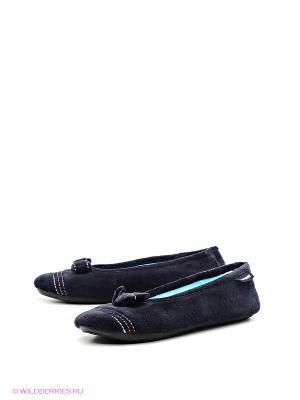 Тапочки Isotoner. Цвет: голубой, черный