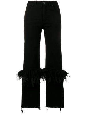 Расклешенные джинсы с гофрированием на коленях Preen By Thornton Bregazzi. Цвет: чёрный
