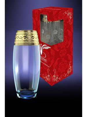 Ваза Флора с рисунком Версаче Гусь-Хрустальный. Цвет: прозрачный