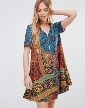 Ebonie n ivory Свободное платье Mimosa. Цвет: мульти