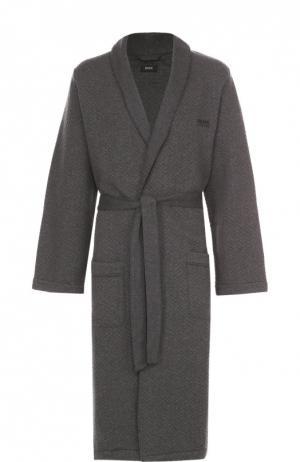 Хлопковый халат с поясом и капюшоном BOSS. Цвет: темно-серый