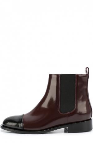 Кожаные ботинки с контрастным мысом Marni. Цвет: бордовый