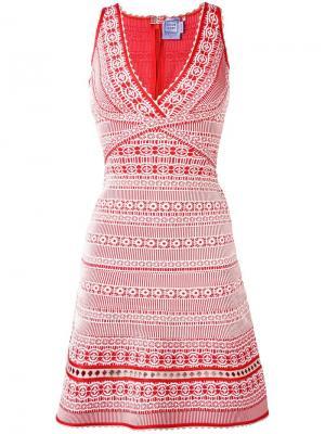 Платье с вышивкой Hervé Léger. Цвет: красный