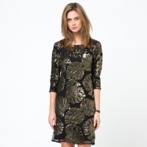 Платье с большим V-образным вырезом сзади и рукавами 3/4 SOFT GREY. Цвет: рисунок/зеленый фон