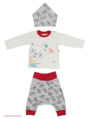 Костюм для малышей WO&GO. Цвет: молочный, красный, серый меланж