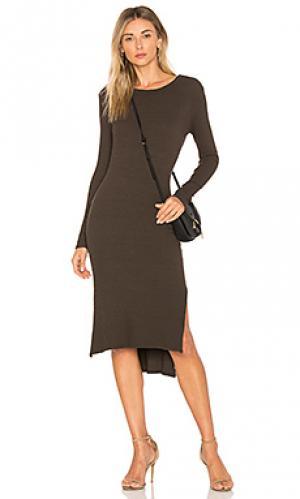 Платье миди Enza Costa. Цвет: оливковый