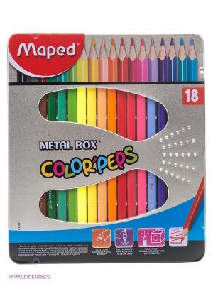 Набор цветных карандашей, 18 цветов Maped. Цвет: сиреневый, желтый, золотистый, красный