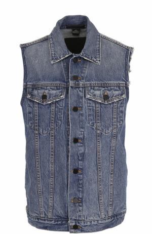 Удлиненный джинсовый жилет с потертостями Denim X Alexander Wang. Цвет: голубой