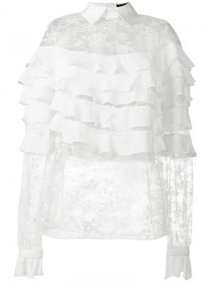 Кружевная блузка с оборками Elie Saab. Цвет: телесный