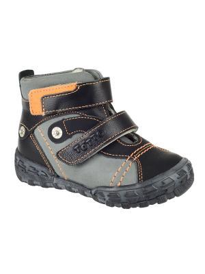 Ботинки Тотто. Цвет: черный, оранжевый, серый