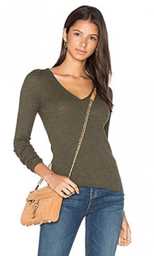 Свитер с v-образной горловиной linde 360 Sweater. Цвет: оливковый