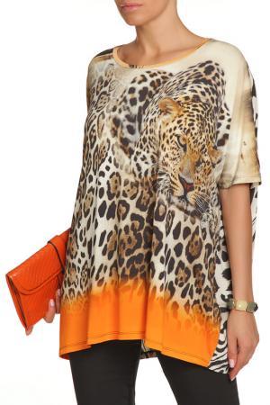 Туника LE FATE. Цвет: оранжевый, леопард