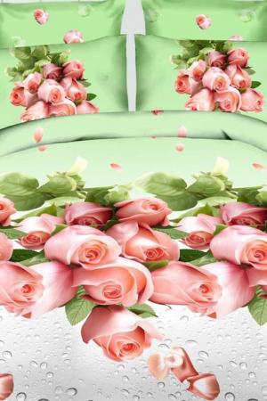 Постельное белье ЕВРО 70х70 BegAl. Цвет: салатовый, розовый, серый