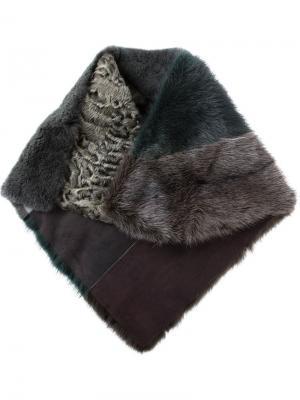 Полосатый шарф в стиле колор-блок Liska. Цвет: зелёный