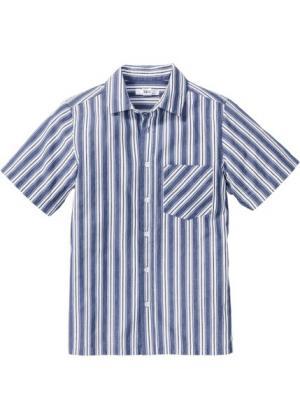 Клетчатая рубашка с принтом (белый/индиго в полоску) bonprix. Цвет: белый/индиго в полоску