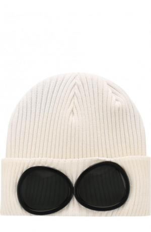 Хлопковая шапка фактурной вязки C.P. Company. Цвет: белый