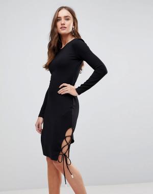 Finders Keepers Облегающее платье с длинными рукавами. Цвет: черный