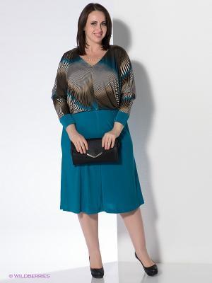 Платье Klimini. Цвет: морская волна, коричневый
