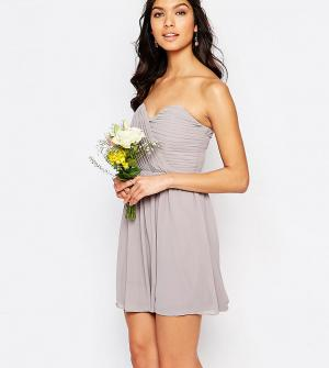 TFNC Шифоновое платье‑бандо мини WEDDING. Цвет: серый