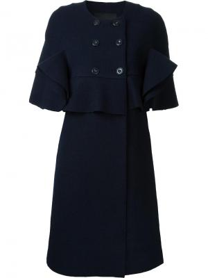 Двубортное пальто с оборками Goen.J. Цвет: синий