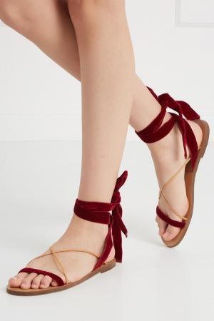 Бархатные сандалии Valentino. Цвет: бордовый, желтый