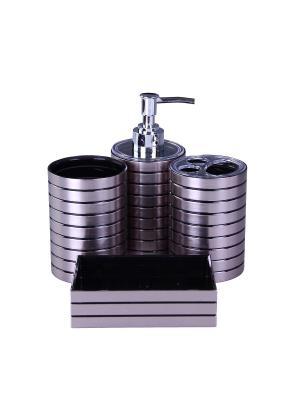 Набор для ванны 4 предмета: дозатор, подставка под зубные щетки, стакан, мыльница PATRICIA. Цвет: серебристый