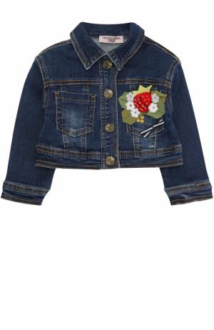 Укороченная куртка из денима  с аппликациями и стразами Monnalisa. Цвет: синий