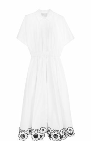 Приталенное платье-рубашка с контрастной отделкой Christopher Kane. Цвет: белый