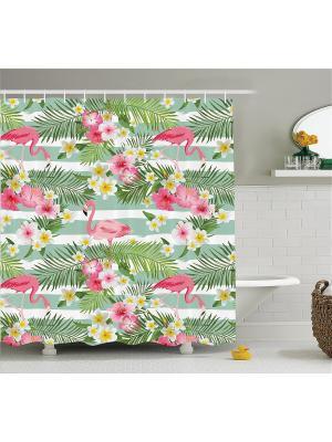 Фотоштора для ванной зелёная Розовые фламинго среди листьев и цветов Magic Lady. Цвет: зеленый, розовый, желтый, белый