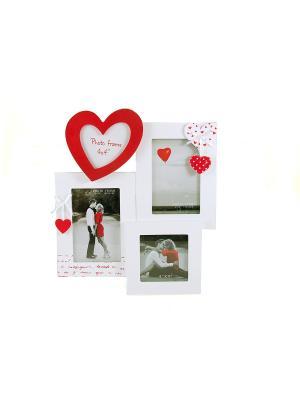 Фоторамка Любовь на 4 фото Русские подарки. Цвет: белый, красный