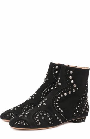 Замшевые ботильоны Pebbles с заклепками Valentino. Цвет: черный