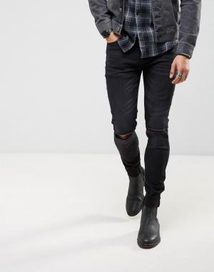 Roadies Черные выбеленные джинсы скинни с вышивкой на отворотах of 66. Цвет: черный