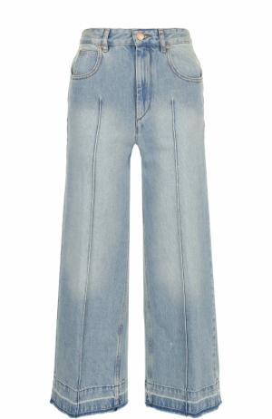 Укороченные расклешенные джинсы с потертостями Isabel Marant Etoile. Цвет: голубой