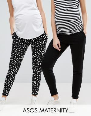 ASOS Maternity Комплект из 2 пар трикотажных брюк-галифе для беременных Maternit. Цвет: мульти