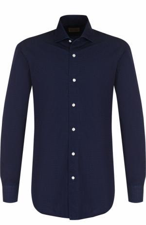 Хлопковая рубашка с воротником кент Barba. Цвет: синий