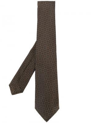 Галстук с цветочной вышивкой Kiton. Цвет: коричневый