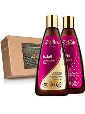 Набор шампунь и бальзам Натуральный эффект ламинирования Зейтун. Цвет: терракотовый, светло-желтый