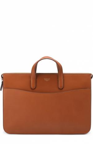 Кожаный портфель на молнии с внешним карманом Bertoni. Цвет: коричневый