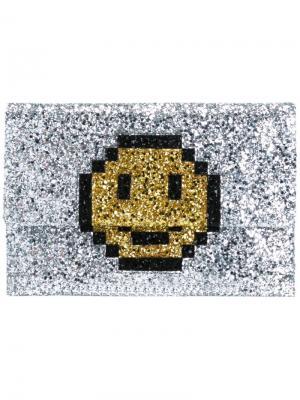 Клатч Pixel Smiley Anya Hindmarch. Цвет: металлический