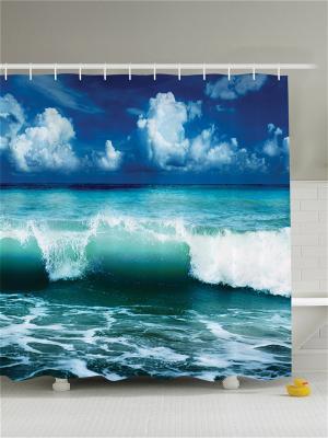 Фотоштора для ванной Зелёная волна, 180*200 см Magic Lady. Цвет: белый, синий, бирюзовый, голубой